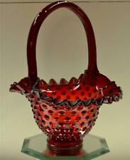 Fenton Basket RUBY RED Vintage HOBNAIL FreeUSAshp