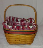 2001 Longaberger Small Square Basket w/Handle Red Picnic Liner & Plastic Insert