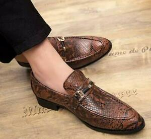 Leather Mens Formal Loafers Pointy Toe Slip On Business Dress Club Party Shoes