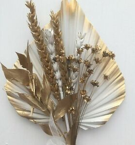 White Palm Spear Edged in Gold,Gold Dried Flowers,CAKE TOPPER .