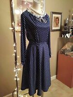 Vintage retro 1950's-1960's navy blue 2 pc skirt and top with white ruffle