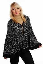 LADIES LEOPARD KNITTED PONCHO FRILL CAPE TOP BLOUSE SCARF CARDIGAN SWEATER BOHO