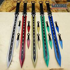 "27"" Ninja Sword Tanto Blade + 2 Knife Black Tactical Katana"