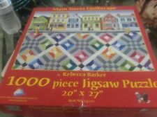 SunsOut Main Street Quiltscape 1000 Puzzle by Rebecca Barker EUC COMPLETE