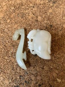 Chinese Antique Two Small White Jade Pendant Qing China Asian