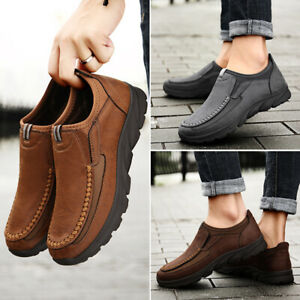 Men Casual Loafers Sneakers Fashion Retro Leisure Slip On Round Toe Summer Shoes