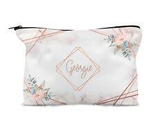 Personalised Make Up Bag Peach Marble Effect Geometric Birthday Bridesmaid Gift