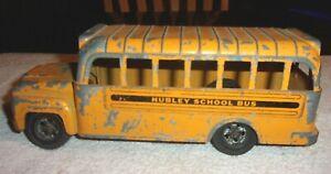 """Rare Old Vintage Original Hubley School Bus Pressed Steel 9 1/4"""" Long 1950's"""
