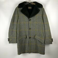 Sir Pendleton VTG Men's Wool Black Tan Green Lined Faux Fur Coat No Size Tag