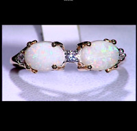 Rare Coober Pedy Opal Duet & White Zircon 10K Yellow Gold Ring Size N-O/7