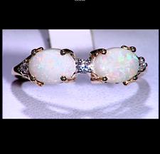 Australian Coober Pedy Opal Duet & White Zircon 10K Yellow Gold Ring Size N-O/7