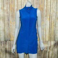 Joseph Ribkoff Women's Sleeveless Mini Dress Pleated Blue Jersey Size 4