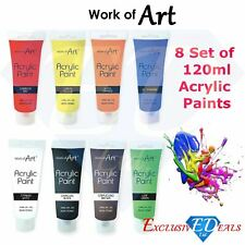 8 x Work of Art Acrylic Paint Set Colours Crafts Painter 120ml -1 of each colour