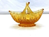 Vintage Fenton Olde Virginia Glass Amber Daisy Button Handled Basket Dish Mint!