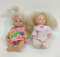 """5"""" Fishel Doll Vintage Drink Wet Big hair baby Polka dotted Pink White Outfit"""