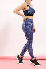 New Women's Ladies ACTIVE MARBLE PRINT SPORTS LEGGINGS STRETCH JOGGERS