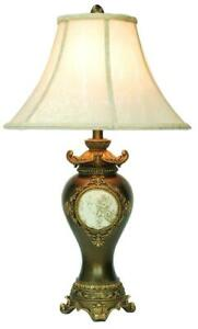 """29"""" Tall Polyresin Table Lamp with Espresso finish, Gold Leaves and Classical..."""