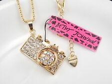 Betsey Johnson fashion jewelry inlaid Rhinestones camera pendant necklace # J298