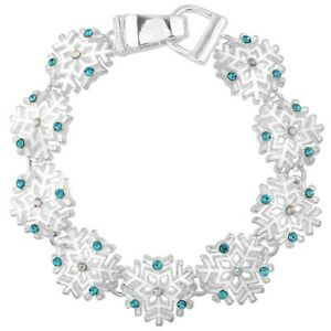 Snowflake Charm Fashionable Chain Bracelet - Sparkling Crystal - Magnetic Clasp
