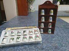 20 x Ceramic Floral Thimbles + Miniature Wooden Holder