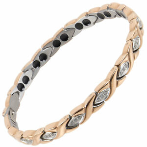 New Ladies Titanium Magnetic Bracelet Sisto-X Pippa Rose Gold Crystals Gift Box