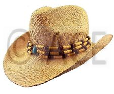 Womens Straw Summer Hats Ladies Wide Brim Natural Bead Detail Cowboy Hat