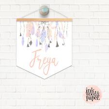 HANGER & PENDANT NAME FLAG PRINT Nursery Baby Girl Boho Dreamcatcher Pastel
