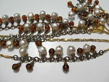 VTG.RETRO BAROQUE PEARLS POURED AMBER GLASS ORNATE BRASS CAPPING CHAIN NECKLACE