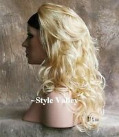 Light Blonde Mix 3/4 Wig Hairpiece Long Wavy Fall Half Wig Cap Hair Piece NWT