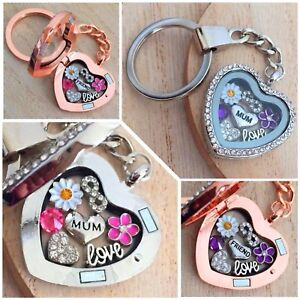 Personalised heart locket keyring for mum nana Xmas Birthday Mothers day gifts