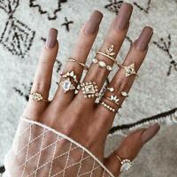 Retro 12Pcs/ Set Women Silver Boho Arrow Moon Flower Midi Finger Knuckle Rings