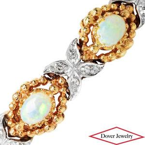 Estate Diamond Opal 14K Gold Elegant Cluster Bracelet 16.7 Grams NR