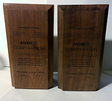 Vintage NYNEX Corporation Solid American Walnut Book Ends Laser Engraved