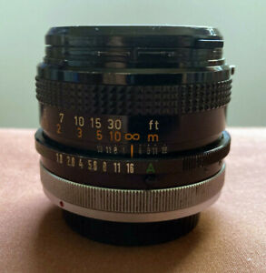 Vintage CANON Lens FD 50mm 1:1.8 S.C. with 2 LENS CAPS Made in Japan