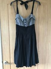 Gorgeous New Look Size 10 Grey Black Halterneck Stretch Pleated Dress