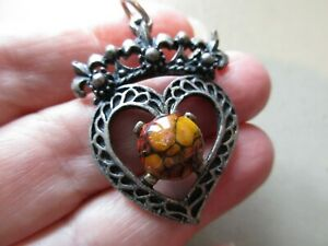 VINTAGE LARGE POLISED STONE SCOTTISH LUCKENBOOTH HEART CROWN FOB CHARM PENDANT