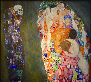 gustav klimt life death art painting print canvas 50cm x 50cm vintage