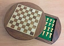 Sheesham Rosewood Handcrafted Magnetic Round Drawer Chess Set Board & Pieces 132