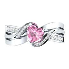 Fashion 925 Silver Heart Shape Black Sapphire Women Wedding Ring Size 6-10