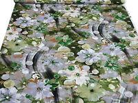 ☻ Stoff Ital. Viskose Jersey Blumen Druck grün oliv beige grau weiß schwarz ☻