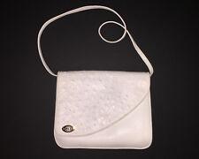 Vintage Gucci White Leather Clutch Handbag Shoulder Strap Suede Inside