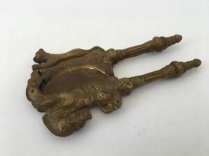Old Brass Engraved Handicraft Horse/Lion Figurine Betel Nut Cutter Sarota