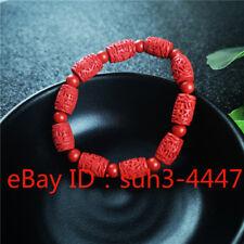 Élastique Bracelet Chanceux Chinois 8 mm naturel rouge organique cinabre Amulette