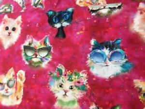 Fabric Good Kitty by Connie Haley 3 Wishes 100% Cotton 112cm wide Cat Faces Pink