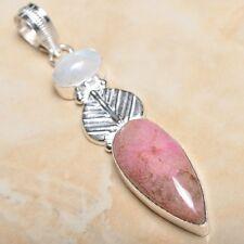 "Handmade Pink Rhodochrosite Gemstone 925 Sterling Silver Pendant 3"" #P11236"