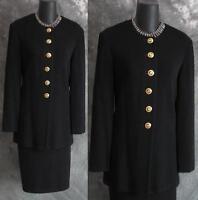 BEAUTIFUL St John long jacket knit black suit blazer size 2 4