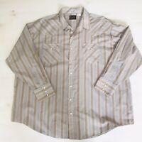 Plains Western Wear Mens 3XL Long Sleeve Pearl Snap Shirt Plaid Tan And Blue EUC