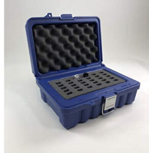 Turtle case flash Drive Holder Protective Case Holds 30 USB Flash Drives Blue
