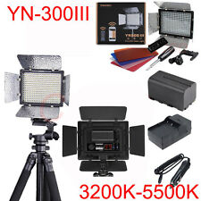 YN300III DSLR Camera LED Light Dual Temperature+ Battery +AC Charger Power Kit
