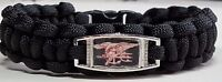 Navy SEALs Black Paracord Bracelet with Gold Trident; Special Warfare Insignia